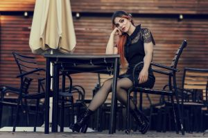 model women legs chair sitting makeup