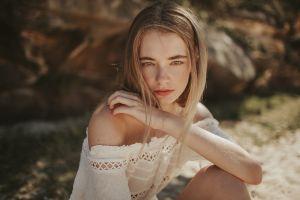 model women outdoors julia trotti depth of field bare shoulders looking at viewer portrait blonde women