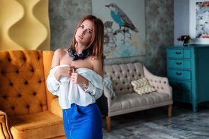 model women women indoors chair vlad popov bare shoulders interior room