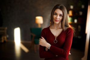model zipper portrait red sweater women women indoors