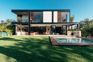modern house swimming pool playground