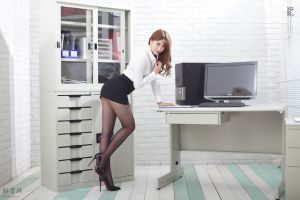 monitor brunette asian pantyhose portrait heels model women black heels miniskirt women indoors long hair computer legs high heels