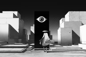 monochrome oska digital art anime