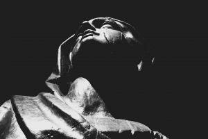 monochrome statue dark sculpture