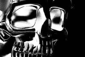 monochrome white skull dark
