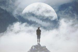 moon landscape people