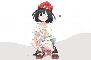 moon manga white background hat anime girls pokémon brunette minimalism shorts ixy simple background anime