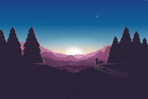 moon stars landscape artwork trees dark sky