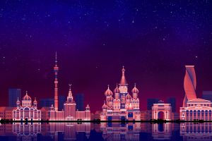 moscow artwork cityscape