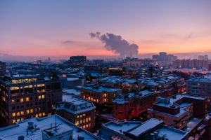 moscow rooftops winter cityscape sunset russia architecture church smoke city lights lights bird's eye view city evening building