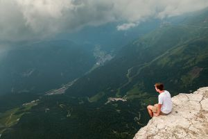 mountain top men landscape