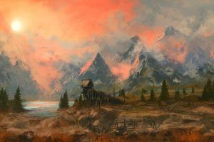 mountains digital art artwork