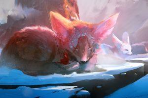 mountains fox environment fantasy art women