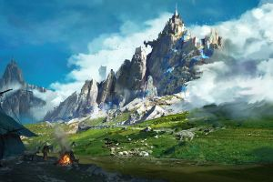 mountains landscape fantasy art digital art artwork