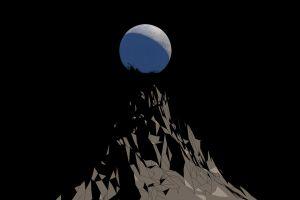 mountains moon black minimalism digital art vector art low poly