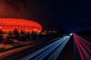 munich football stadium stadium photography allianz arena  trees germany road long exposure lights light trails night