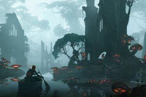 mushroom river landscape digital art forest fantasy art artwork boat