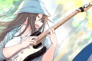 musical instrument guitar anime open mouth anime girls