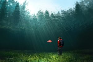 nature artwork landscape underwater fish