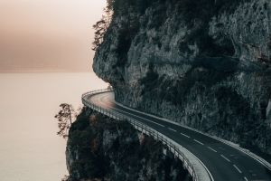 nature cliff mountains road sea landscape switzerland