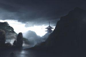nature dark atmosphere pagoda japan