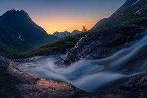 nature dark long exposure mountains water landscape