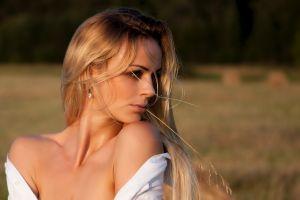 nature face depth of field white tops women outdoors women blonde bare shoulders blouse long hair model