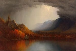 nature fall lake trees landscape mountain top artwork painting
