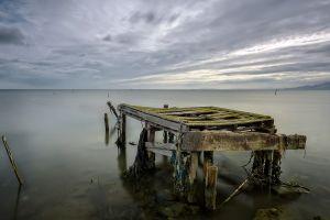 nature sea pier horizon overcast abandoned