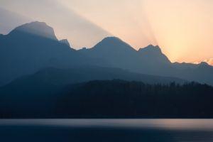 nature sunset lake mountains landscape