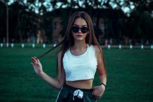 necklace brunette sunglasses long hair women women outdoors portrait depth of field