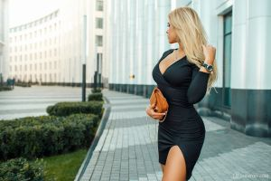 necklace portrait women women outdoors black dress blonde