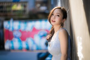 necklace women outdoors brunette ponytail depth of field model looking at viewer portrait women asian