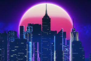 neon artwork skyline