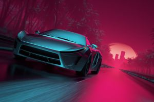 neon artwork vehicle synthwave road car