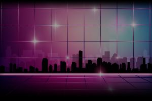 neon cityscape digital art vaporwave