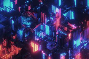 neon neon glow brain 3d abstract abstract digital art