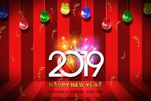 new year 2019 (year) colorful numbers
