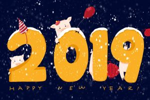 new year 2019 (year) numbers pigs