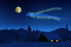 new year winter artwork 2019 (year) 2018 (year) stars night santa claus moon happy new year christmas sky