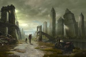 new york city cityscape skyscraper fallout artwork futuristic science fiction vehicle brooklyn bridge ruin apocalyptic dog