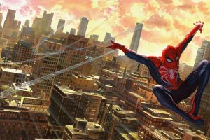 new york city spider-man (2018) spider-man marvel comics cityscape artwork