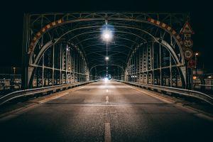 night bridge city road lights street