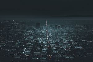 night california city lights traffic los angeles cityscape aerial building dark aerial view