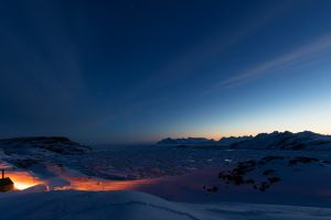 night nature greenland dark sunset sky lights ice snow mountains