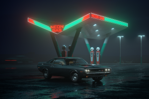 night neon lights gas stations car