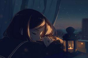 night rain anime girls original characters school uniform anime window short hair sleeping lantern closed eyes black hair