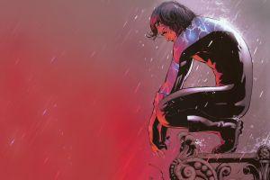 nightwing dc comics rain comic art