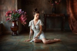 on the floor alla berger barefoot dark hair hairbun women women indoors sitting inked girls indoors portrait anastasia barmina dress flowers vases