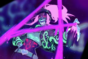oni mask yellow eyes league of legends artwork baseball caps looking at viewer jacket video games belly spray can illustration akali video game girls short tops akali(league of legends)
